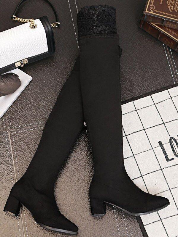 Stiefel Schuhe 5.5 cm Bein Hoch Schenkel schwarz Spitze simil Leder CW957