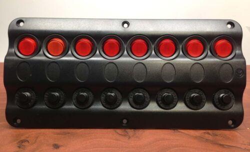 MARINE BOAT SPLASHPROOF WAVE DESIGN 8 GANG SWITCH PANEL UL LED INDICATOR