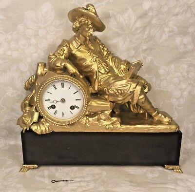 Antique Spelter Cavalier Figural Mantel Clock Running? No Pendulum Re-Gilted Fig