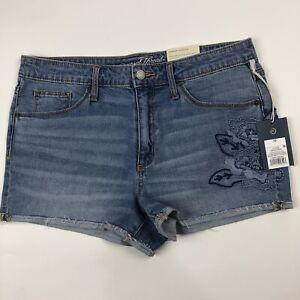 Universal-Thread-Hi-Rise-Stretch-Shortie-Cutoff-Denim-Blue-Jean-Shorts-Sz-10-NWT