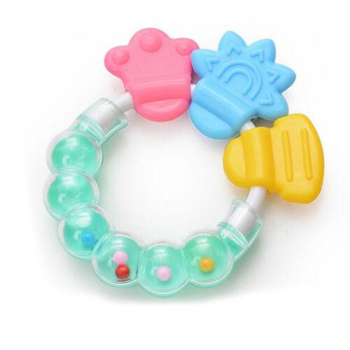 Healthy Baby Kids Rattles Biting Teething Teether Balls Toys Circle Ring Toy G3Z