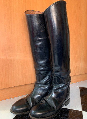 """Vintage PYTCHLEY Tall 20"""" Black Leather Equestrian"""