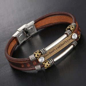 Hot-Sale-Punk-Mens-PU-Leather-Bracelet-Brown-Retro-Jewellery-Wristband-Bangle