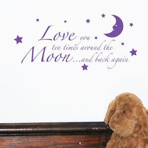 Dettagli Su Love You To The Moon And Back Bambini Citazioni Da Parete Parole Adesivo W27