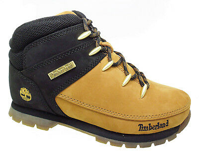 New Boys TIMBERLAND Boots Euro Sprint Black Wheat Kids School Leather Size 7-6.5