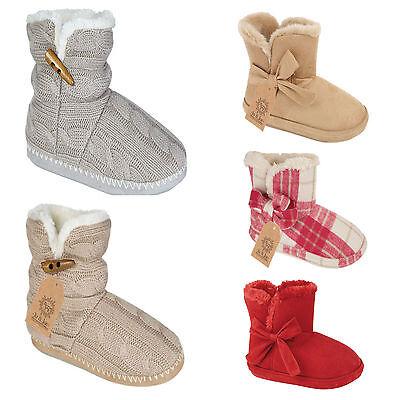 Nuevo De Lujo Suave Mujeres De Las Señoras Polar Caliente Zapatillas Botas/Botines Uk Tamaños 3-8