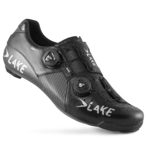 Lake CX403 Wide Fit CFC Carbon Road Shoe in Black and Silver All Sizes