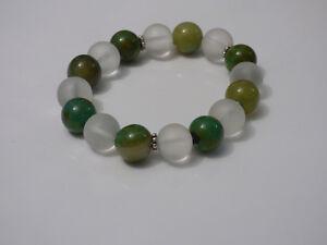 Damenarmband-Armband-Edelsteine-handgefertigt-Achat-amp-Bergkristall-matt