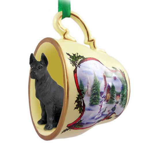 Great Dane Christmas Teacup Ornament Black
