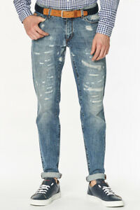 Trussardi-Jeans-Jeans-Regular-Fit-Messieurs-DETERIORE-look-Pantalon-Bleu-Casual
