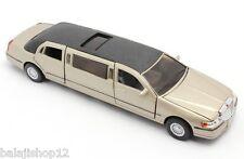 "Kinsmart 1999 Lincoln Town Car Stretch Limousine 1:38 scale 7"" diecast Matt gold"
