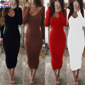 Women-Ladies-Long-Sleeve-V-Neck-Stretch-Bodycon-Ribbed-Knit-Pencil-Midi-Dress-US