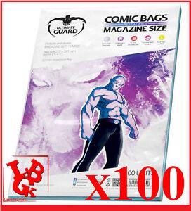 Pochettes Protection MAGAZINE Size comics x 100 Ultimate Guard Bags # NEUF #