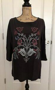 Ann-Taylor-LOFT-Women-s-3-4-Sleeve-Scoop-Neck-Top-Lg-Dark-Gray-w-Floral-Print