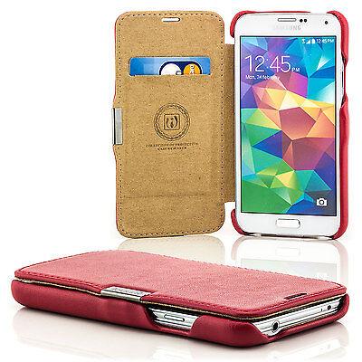 Echt Leder Tasche für Samsung Galaxy S5 G900 Schutz Hülle Etui Cover Case Rot