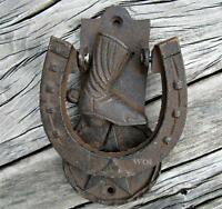 Cast Iron Horse Shoe Door Knock Old West Cowboy Boot Sheriff Star Metal Hinge