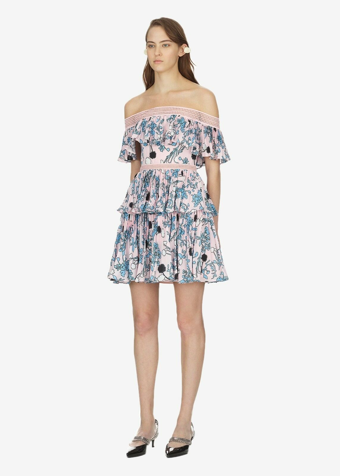 Self Portrait Off Shoulder Floral Printed Mini Dress