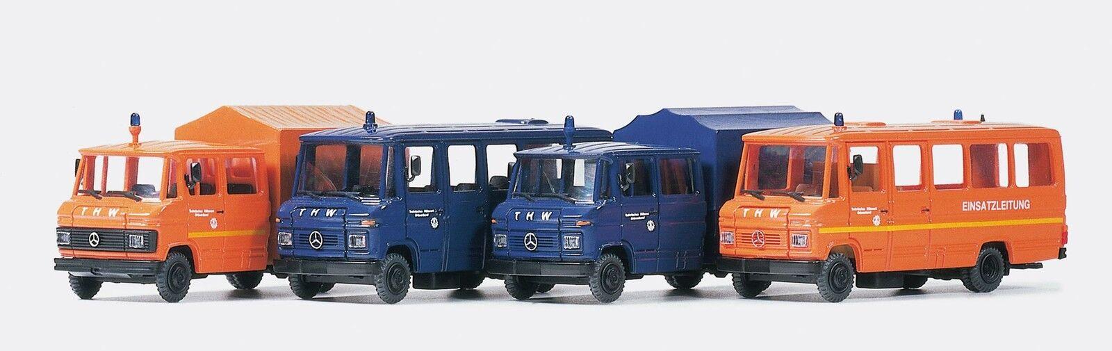 Preiser 31211 h0 quatre différents thw-véhicules