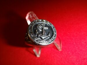 US Navy Silver Tone Stainless Steel Ring Fits Finger Size 10.5
