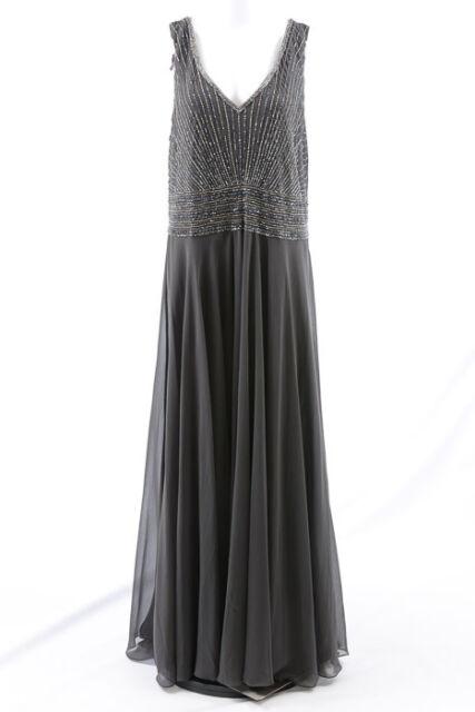 Jkara slate 22W bead embellished formal evening gown maxi dress NEW $289