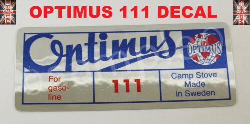 Optimus Stove 111 Remplacement decal autocollant essence Réchaud Primus Stove