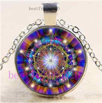 Mandala Flower Photo Cabochon Glass Tibet Silver Chain Pendant Necklace