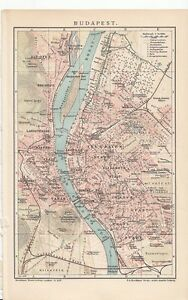 1901-HUNGARY-BUDAPEST-City-Plan-Antique-Map