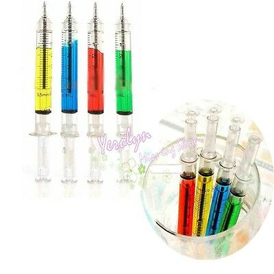 Novelty Fashion Liquid Syringe Needle Tube Ball Point Pen Black Ink Ballpoint