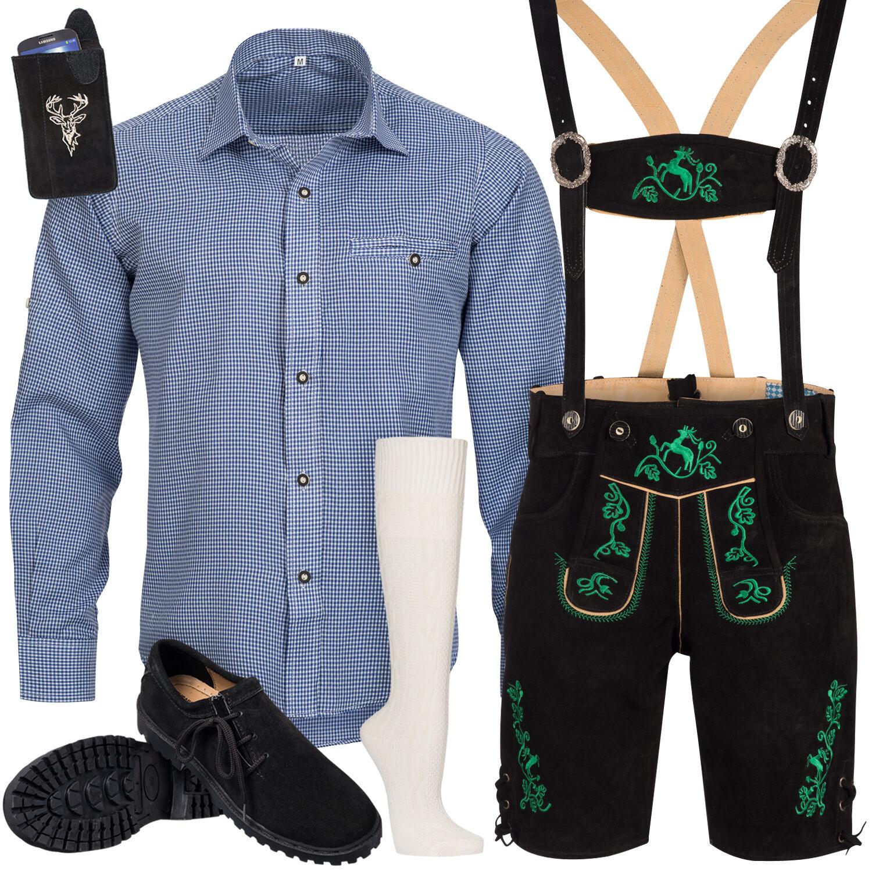 Set Costume Tradizionale uomo Pantaloni Folcloristici in Cuoio con Portante