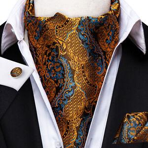 Ascot-Yellow-Blue-Paisley-Mens-Silk-Cravat-Tie-Set-Hanky-Business-Wedding-USA