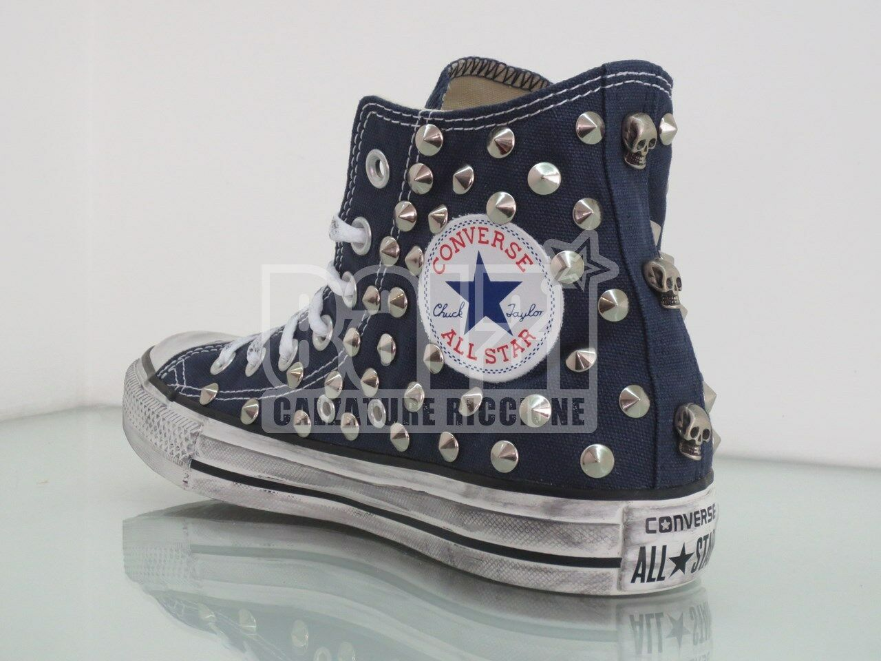 Converse All Star Hi Studded Skulls INV shoes Woman Man Navy craft
