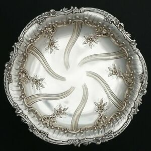Antique-French-Sterling-Silver-Compote-Tazza-Footed-Centerpiece-Tray-Plate