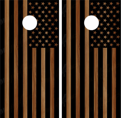Black American Flag Brown Woodgrain Cornhole Board Wraps Decals Graphics