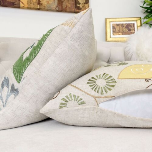Homey Cozy Linen Throw Pillow Cover,Premium Embroidery Large Cushion Case 20x20/""