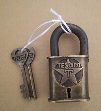 Texaco T & Star Brass Lock Vintage Style W/ Keys Gas Oil Padlock