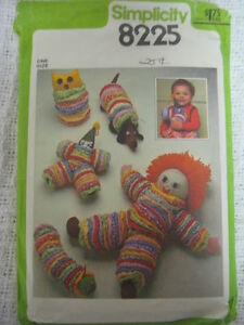 Owl Caterpillar Clown 8225 Simplicity VINTAGE Pattern with  Doll Dog