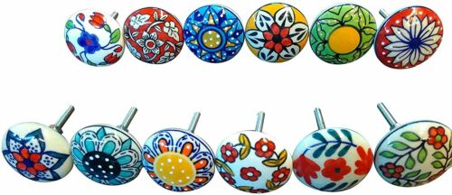 Mix Vintage Look Flower Ceramic Knobs Door Handle Cabinet Drawer Cupboard Pull
