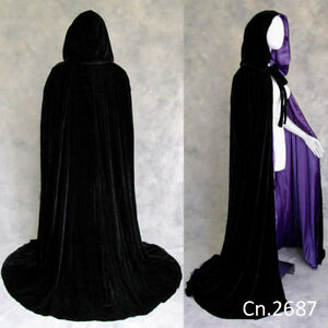 Black Velvet Hooded Cloak Purple Silk Wedding Cape Halloween Pagan Witch S-6X