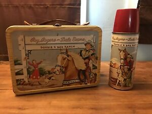 Vintage Roy Rogers & Dale Evans Double R Bar Ranch Lunch Box & Thermos