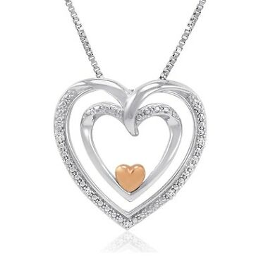 14K Gold Diamond Heart Pendant-Necklace
