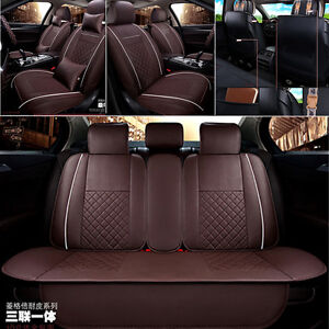 Deluxe Edition Leather Auto Car Seat Cover Cushion 5-Seats Front+Rear w// Pillows