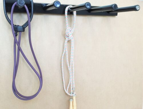 Bands SPORTIFY Wall Mounted Rack for Jump Ropes Black Color Tubings Mats etc