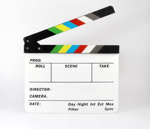 Film Pellicola TV ARDESIA Clapper Board Dry Erase embriciate cut scene d/'azione Acrilico