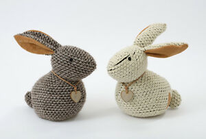 Image Is Loading Soft Brown Cream Fabric Knitted Rabbit Bunny Door