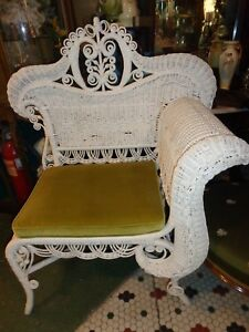 Image Is Loading ANTIQUE VICTORIAN WHITE WICKER PHOTOGRAPHERS CHAIR  UNUSUAL OLD