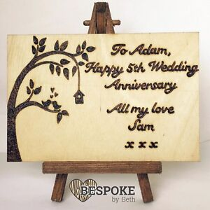 Details about Handmade 5th Wedding Anniversary Card Wood Greeting Wooden  Alternative Card Love