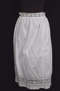 ANTIQUE-FRENCH-EDWARDIAN-WHITE-COTTON-PETTICOAT-WITH-LACE-TRIM-34-034-WAIST