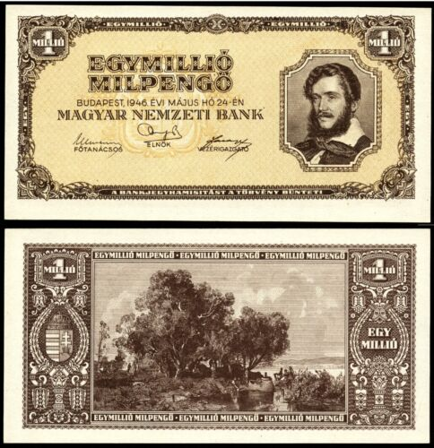 Hungary 1 MILLIO MIL PENGO 1946 P1#28 Magyar Ungarn UNC