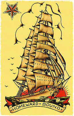 SJP115 Homeward Bound Ship Sailor Jerry Traditional style Flash poster print