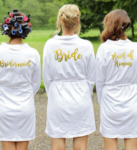 White Wedding Dressing Gowns Bride Bridesmaid Maid of Honour Robe ...